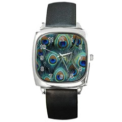 Feathers Art Peacock Sheets Patterns Square Metal Watch