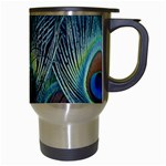 Feathers Art Peacock Sheets Patterns Travel Mugs (White) Right