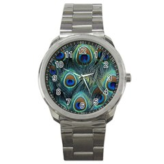 Feathers Art Peacock Sheets Patterns Sport Metal Watch