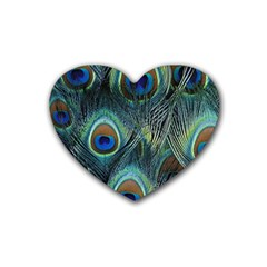 Feathers Art Peacock Sheets Patterns Rubber Coaster (heart)
