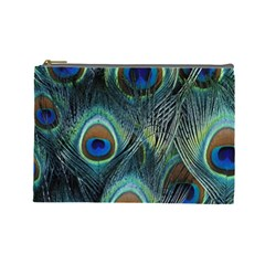 Feathers Art Peacock Sheets Patterns Cosmetic Bag (large)