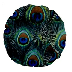 Feathers Art Peacock Sheets Patterns Large 18  Premium Round Cushions