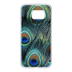 Feathers Art Peacock Sheets Patterns Samsung Galaxy S7 Edge White Seamless Case