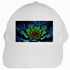 Fractal Flowers Abstract Petals Glitter Lights Art 3d White Cap