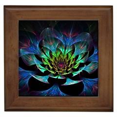 Fractal Flowers Abstract Petals Glitter Lights Art 3d Framed Tiles