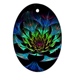 Fractal Flowers Abstract Petals Glitter Lights Art 3d Ornament (oval)