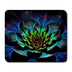 Fractal Flowers Abstract Petals Glitter Lights Art 3d Large Mousepads