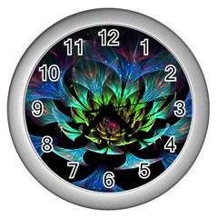 Fractal Flowers Abstract Petals Glitter Lights Art 3d Wall Clocks (silver)