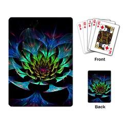 Fractal Flowers Abstract Petals Glitter Lights Art 3d Playing Card