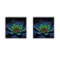 Fractal Flowers Abstract Petals Glitter Lights Art 3d Cufflinks (square)