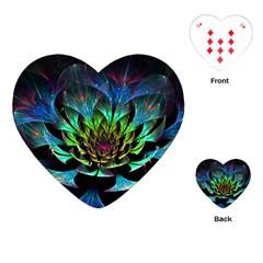 Fractal Flowers Abstract Petals Glitter Lights Art 3d Playing Cards (heart)