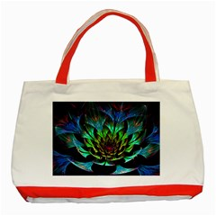Fractal Flowers Abstract Petals Glitter Lights Art 3d Classic Tote Bag (red)