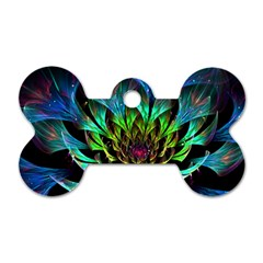 Fractal Flowers Abstract Petals Glitter Lights Art 3d Dog Tag Bone (two Sides)