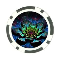 Fractal Flowers Abstract Petals Glitter Lights Art 3d Poker Chip Card Guard (10 Pack)