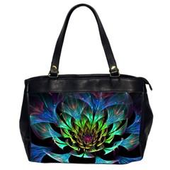 Fractal Flowers Abstract Petals Glitter Lights Art 3d Office Handbags (2 Sides)