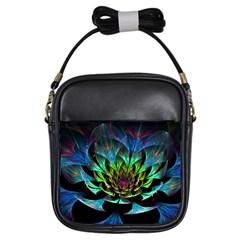 Fractal Flowers Abstract Petals Glitter Lights Art 3d Girls Sling Bags