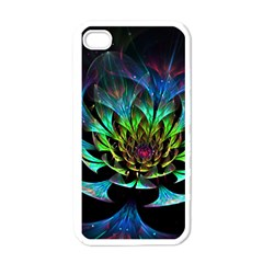 Fractal Flowers Abstract Petals Glitter Lights Art 3d Apple Iphone 4 Case (white)