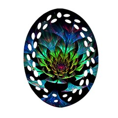 Fractal Flowers Abstract Petals Glitter Lights Art 3d Oval Filigree Ornament (two Sides)
