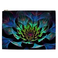 Fractal Flowers Abstract Petals Glitter Lights Art 3d Cosmetic Bag (xxl)