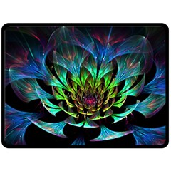 Fractal Flowers Abstract Petals Glitter Lights Art 3d Double Sided Fleece Blanket (large)