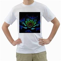 Fractal Flowers Abstract Petals Glitter Lights Art 3d Men s T Shirt (white)
