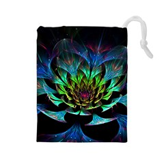Fractal Flowers Abstract Petals Glitter Lights Art 3d Drawstring Pouches (large)