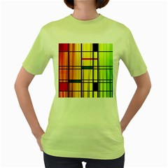 Line Rainbow Grid Abstract Women s Green T Shirt