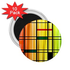 Line Rainbow Grid Abstract 2 25  Magnets (10 Pack)
