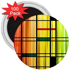 Line Rainbow Grid Abstract 3  Magnets (100 Pack)