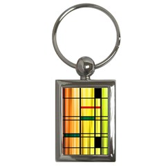 Line Rainbow Grid Abstract Key Chains (rectangle)