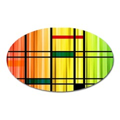 Line Rainbow Grid Abstract Oval Magnet