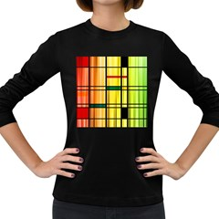 Line Rainbow Grid Abstract Women s Long Sleeve Dark T Shirts
