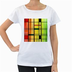 Line Rainbow Grid Abstract Women s Loose Fit T Shirt (white)