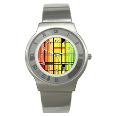 Line Rainbow Grid Abstract Stainless Steel Watch