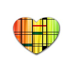 Line Rainbow Grid Abstract Rubber Coaster (heart)