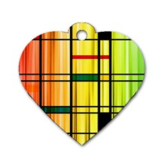 Line Rainbow Grid Abstract Dog Tag Heart (two Sides)