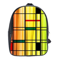 Line Rainbow Grid Abstract School Bags(large)