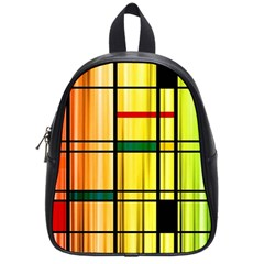 Line Rainbow Grid Abstract School Bags (small)