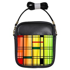 Line Rainbow Grid Abstract Girls Sling Bags