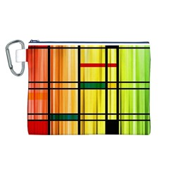 Line Rainbow Grid Abstract Canvas Cosmetic Bag (l)