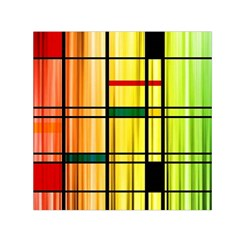Line Rainbow Grid Abstract Small Satin Scarf (square)