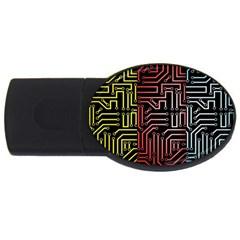 Circuit Board Seamless Patterns Set Usb Flash Drive Oval (2 Gb)