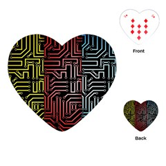 Circuit Board Seamless Patterns Set Playing Cards (heart)