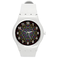 The Flower Of Life Round Plastic Sport Watch (m)