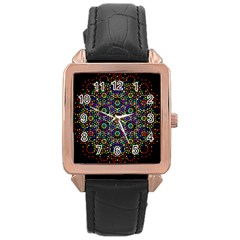 The Flower Of Life Rose Gold Leather Watch