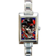 Confederate Flag Usa America United States Csa Civil War Rebel Dixie Military Poster Skull Rectangle Italian Charm Watch