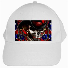 Confederate Flag Usa America United States Csa Civil War Rebel Dixie Military Poster Skull White Cap