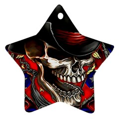 Confederate Flag Usa America United States Csa Civil War Rebel Dixie Military Poster Skull Ornament (star)