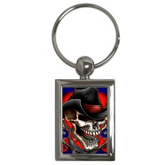 Confederate Flag Usa America United States Csa Civil War Rebel Dixie Military Poster Skull Key Chains (rectangle)