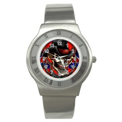 Confederate Flag Usa America United States Csa Civil War Rebel Dixie Military Poster Skull Stainless Steel Watch
